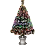 National Tree Company 36 In. Fiber Optic Evergreen Flocked Tree Silver Base Multi