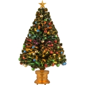 National Tree Company 48 in. Fiber Optic Fireworks Glittered Balls Gold Star Tree