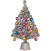 National Tree Company 32 In. Fiber Optic Firework Silver Tinsel Tree 18 Ornaments