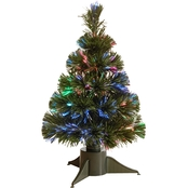 National Tree Company 18 In. Fiber Optic Ice Tree Green Base, Battery Operated