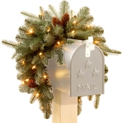 National Tree Company 36 in. Frosted Arctic Spruce Mailbox Swag