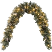 National Tree Company 6 Ft. Glittery Bristle Pine Mantel Swag With Clear Lights
