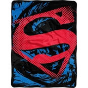 Northwest Superman Super Rip Shield Micro Raschel Throw Blanket