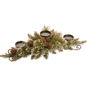 National Tree Co. 30 In. Glittery Bristle Pine Centerpiece and Candle Holder