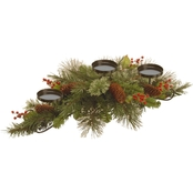 National Tree Co. 30 In. Wintry Pine Centerpiece and Candle Holder