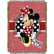 Northwest Minnie Mouse Bowtique Forever Minnie Woven Tapestry Throw