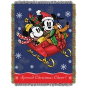Northwest Mickey's Sleigh Ride Woven Tapestry Throw