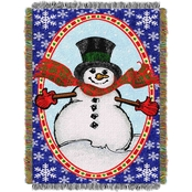 Northwest Bright Happy Snowman Woven Tapestry Throw