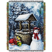 Northwest Snowman Wishing Well Woven Tapestry Throw