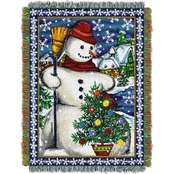 Northwest Village Snowman Woven Tapestry Throw