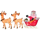 National Tree Company 34 in. Santa and Reindeer with Clear Lights