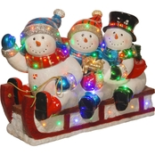 National Tree Company 29 in. Pre Lit Sledding Snowmen Decoration