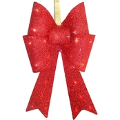 National Tree Co. Pre Lit 20 In. Red Fabric Bow with Battery Operated LED Lights