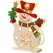 National Tree Co. Pre Lit 12 In. Wooden Snowman
