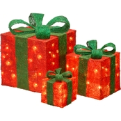 National Tree Co. Pre Lit Red Sisal Gift Box Assortment