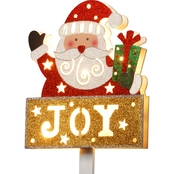 National Tree Co. Pre Lit 35 In. Santa with Joy Sign