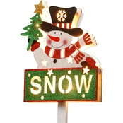National Tree Co. Pre Lit 35 In. Snowman with Snow Sign
