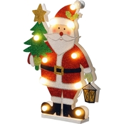 National Tree Co. Pre Lit 17 In. Wooden Santa