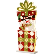 National Tree Co. Pre Lit 17 In. Wooden Gift Box Snowman