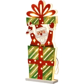 National Tree Co. Pre Lit 17 In. Wooden Gift Box Santa