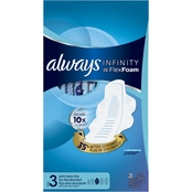 Always Infinity Size 3 Extra Heavy Flow Pads with Wings, Unscented, 28 ct.