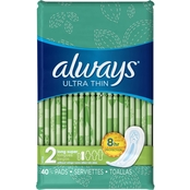 Always Ultra Thin Size 2 Long Super Pads Without Wings, Unscented, 40 Ct.