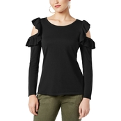 INC International Concepts Ruffle Cold Shoulder Sweater