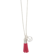 Tassel and Peace Sign Charm Necklace