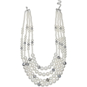 Jules B Day and Night Pearl Multi Row Necklace With Faceted Accent Beads