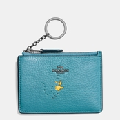 COACH Refined Natural Pebble Leather with Snoopy Boxed Mini Skinny Id Case