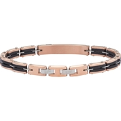 Black & Blue Jewelry Stainless Steel Rose Gold Ion Plated Gents Bracelet