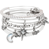 Alex and Ani Moon and North Star Set of 5 Charm Bangle Bracelets
