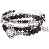 Alex and Ani Crystal Patina Heart Set of 3 Charm Bangle Bracelets