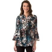 Jones New York Flounce Top with Front Button Placket