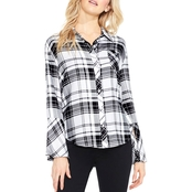 Two by Vince Camuto Bell Sleeve Plaid Shirt