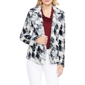 Two by Vince Camuto Houndstooth Faux Fur Coat