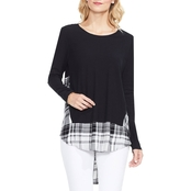 Two by Vince Camuto Mixed Media Plaid Inset Top