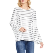Two by Vince Camuto Bell Sleeve Thin Stripe Top