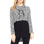 Two by Vince Camuto Cowl Neck Mix Media Top