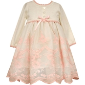 Bonnie Jean Infant Girls Sweater Bodice to Border Embroidery Dress