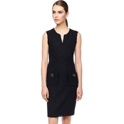 Karl Lagerfeld Tweed Shift Dress with Raw Edge and Pockets