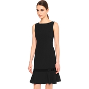 Karl Lagerfeld Crepe Dress with Flounce Hem and Grosgrain Belt