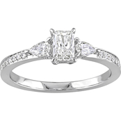 Diamore 14K White Gold 5/8 CTW Diamond Three Stone Vintage Engagement Ring