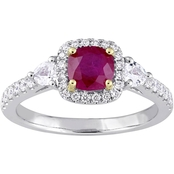 Sofia B. 14K Two Tone Gold 3-Stone Ruby and White Sapphire 1/3 CTW Diamond Ring