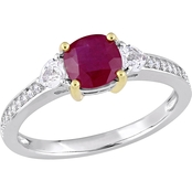 Sofia B. 14K Two-Tone Gold 3-Stone Ruby and White Sapphire 1/10 CTW Diamond Ring