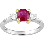 Sofia B. 14K Two-Tone Gold 3-Stone Ruby and White Sapphire Ring