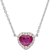 Sofia B. 14K Two-Tone Gold Ruby and Diamond Accent Halo Heart Necklace