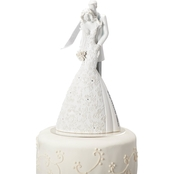 Roman 9 in. White Wedding Cake Topper Cherish