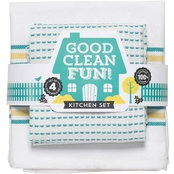 Now Designs Good Clean Fun Kitchen Dishtowel & Kitchen Dishcloth Set of Two Each