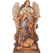 Joseph's Studio Holy Family with Angel 20 In. Floor Plaque with Easel Base